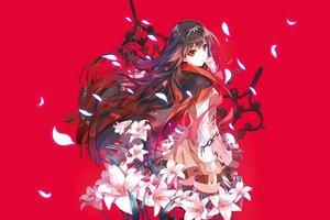 Rating: Safe Score: 44 Tags: brown_eyes chain flowers kuroya_shinobu long_hair red taiyou_no_channel thighhighs User: Flandre93