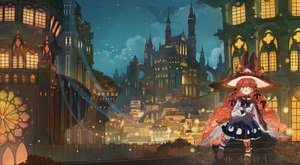 Rating: Safe Score: 52 Tags: animal axle bell blush building cat clouds dragon dress green_eyes hat long_hair night original red_hair sky stars witch witch_hat User: BattlequeenYume