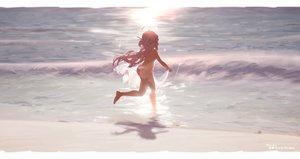 Rating: Questionable Score: 84 Tags: ass barefoot beach bikini dress loli nopan purple_hair red_eyes see_through shippitsu summer_dress swimsuit wink yumeno_shiori yumeno_shiori_channel User: gnarf1975