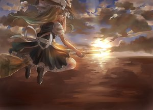 Rating: Safe Score: 82 Tags: 039love-s-c apron blonde_hair bow braids clouds dress hat kirisame_marisa long_hair ribbons sky socks sunset touhou witch User: C4R10Z123GT