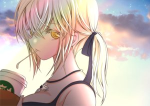 Rating: Safe Score: 23 Tags: blonde_hair close clouds drink fate/grand_order fate_(series) long_hair necklace ponytail ribbons saber saber_alter sheepd sky yellow_eyes User: otaku_emmy