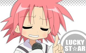 Rating: Safe Score: 7 Tags: close kogami_akira lucky_star microphone pink_hair white User: Oyashiro-sama