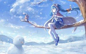 Rating: Safe Score: 80 Tags: hatsune_miku snow tree vocaloid yue_yue yuki_miku yukine_(vocaloid) User: FormX