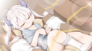 Rating: Safe Score: 56 Tags: horns hunting_moon loli long_hair oshin0_(zheng) sleeping tagme_(character) twintails white_hair User: BattlequeenYume