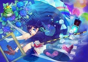 Rating: Safe Score: 99 Tags: animal blue_eyes candy crown flowers frog headphones koyami_tsukito original purple_hair rainbow school_uniform short_hair umbrella User: opai