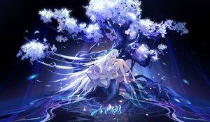 Rating: Safe Score: 95 Tags: dress horns long_hair original purple_eyes tree wanv_wang white_hair User: BattlequeenYume