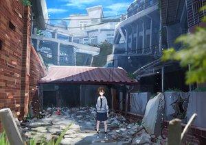 Rating: Safe Score: 12 Tags: blue_eyes brown_hair building city clouds grass hoodie original ruins sakeharasu short_hair skirt sky User: RyuZU