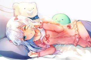 Rating: Safe Score: 56 Tags: aqua_eyes bed bow eromanga-sensei izumi_sagiri loli long_hair pajamas shorts tagme_(artist) teddy_bear white_hair wink User: BattlequeenYume