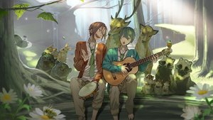 Rating: Safe Score: 45 Tags: all_male animal barefoot bear bird butterfly forest free! guitar instrument male matsuoka_rin nanase_haruka rabbit suit tie tree User: humanpinka