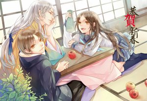 Rating: Safe Score: 18 Tags: apple chm food fruit hoodie japanese_clothes male natsume_takashi natsume_yuujinchou school_uniform tagme_(character) User: opai