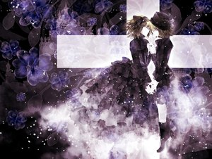 Rating: Safe Score: 88 Tags: dress flowers gothic hana_(mew) hat kagamine_len kagamine_rin vocaloid User: MissBMoon