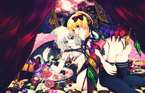 Rating: Questionable Score: 60 Tags: bed candy flandre_scarlet food lollipop moon neko_kumichou_(alia) panties remilia_scarlet touhou underwear User: MissBMoon
