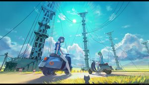 Rating: Safe Score: 193 Tags: 2girls animal arsenixc boots building cat clouds crossover eureka eureka_seven goggles grass green_hair isle_of_winds motorcycle purple_hair scenic short_hair skirt sky watermark wristwear yumi_(isle_of_winds) User: opai