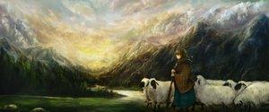 Rating: Safe Score: 80 Tags: animal braids clouds haru_akira landscape original scenic sheep User: Flandre93