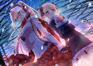 Rating: Safe Score: 162 Tags: 2girls arainobu blonde_hair glasses gloves headphones pantyhose ponytail red_eyes scarf skirt snow tagme tree twintails User: opai