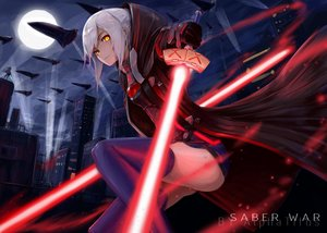 Rating: Safe Score: 103 Tags: alphatitus building city clouds fate/grand_order fate_(series) gloves heroine_x heroine_x_alter lightsaber moon night scenic short_hair skirt sky sword thighhighs watermark weapon white_hair yellow_eyes User: BattlequeenYume