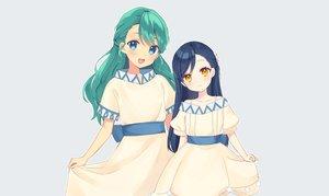 Rating: Safe Score: 28 Tags: 2girls aqua_eyes blue blue_hair blush dress flat_chest green_hair honzuki_no_gekokujou long_hair myne orange_eyes rimo skirt_lift tuuli User: otaku_emmy