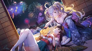 Rating: Safe Score: 92 Tags: 2girls brown_hair crying fireworks gray_hair houchi_shoujo japanese_clothes long_hair monini shoujo_ai signed sky tears thighhighs User: BattlequeenYume