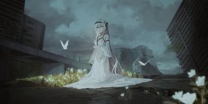 Rating: Safe Score: 75 Tags: building butterfly chihuri405 city clouds dark dress flowers gray_eyes gray_hair headdress long_hair night original ruins sky tree User: luckyluna