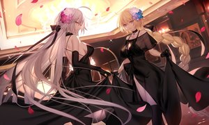 Rating: Safe Score: 224 Tags: blonde_hair blue_eyes bow braids breasts choker cleavage dress elbow_gloves fate/grand_order fate_(series) flowers gloves gray_hair jeanne_d'arc_alter jeanne_d'arc_(fate) long_hair necklace petals ponytail ribbons see_through shinooji skirt_lift thighhighs yellow_eyes User: BattlequeenYume