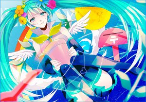 Rating: Safe Score: 21 Tags: achiki flowers hatsune_miku hello_planet_(vocaloid) vocaloid wings User: MissBMoon