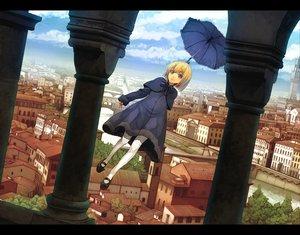 Rating: Safe Score: 19 Tags: blonde_hair blue_eyes building city clouds dress goe pantyhose sky tree umbrella User: w7382001