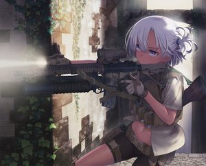 Rating: Safe Score: 176 Tags: bike_shorts blue_eyes gloves gray_hair gun leaves navel original short_hair shorts tagme_(artist) weapon User: luckyluna