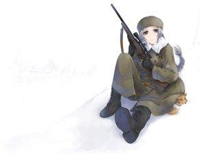 Rating: Safe Score: 86 Tags: animal blue_eyes boots fox gun hat original ponytail simosi snow weapon white_hair User: PAIIS