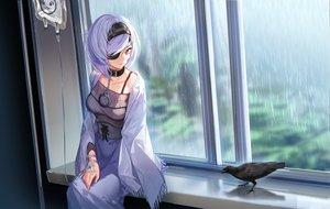 Rating: Safe Score: 96 Tags: animal bird black_eyes black_survival doitsu_no_kagaku eyepatch headband rain short_hair sissela skirt water white_hair User: RyuZU