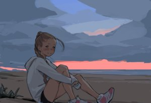 Rating: Safe Score: 9 Tags: beach blush braids brown_eyes brown_hair clouds hoodie jeff_macanoli long_hair original ponytail sketch sky socks sunset water User: otaku_emmy