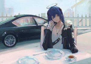 Rating: Safe Score: 50 Tags: 7ife arknights blue_eyes blue_hair car drink gloves halo long_hair mostima_(arknights) necklace User: BattlequeenYume