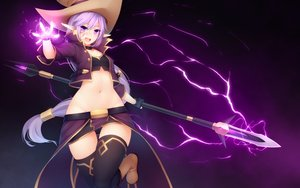 Rating: Safe Score: 433 Tags: kaleina_(ricegnat) magic navel nopan original pointed_ears purple_hair ricegnat skirt spear thighhighs weapon User: Flandre93