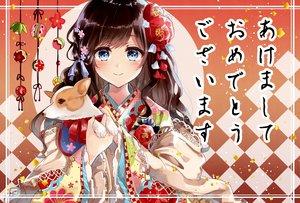 Rating: Safe Score: 33 Tags: animal aqua_eyes blush brown_hair dog dress flowers japanese_clothes long_hair original ribbons tagme_(artist) translation_request User: BattlequeenYume