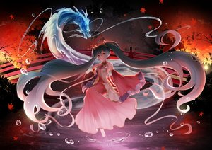 Rating: Safe Score: 55 Tags: dragon hatsune_miku japanese_clothes mamo_(fortune-mm) vocaloid User: FormX