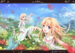 Rating: Safe Score: 60 Tags: animal barefoot blonde_hair blue_eyes butterfly dress flowers miyai_haruki original rabbit User: opai