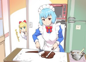 Rating: Safe Score: 20 Tags: 2girls apron aqua_hair black_hair bow candy chocolate green_eyes headdress jpeg_artifacts maid original red_eyes short_hair translation_request ueyama_michirou User: RyuZU