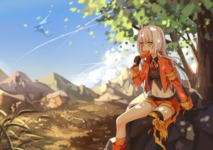 Rating: Safe Score: 65 Tags: blonde_hair clouds dragon food gloves grass landscape long_hair navel pixiv_fantasia scenic shorts socks thighhighs transistor tree yellow_eyes User: Flandre93