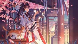 Rating: Safe Score: 209 Tags: animal aqua_eyes bird black_hair building cat japanese_clothes kimono long_hair petals ribbons sword weapon zicai_tang User: RyuZU