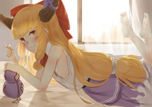 Rating: Questionable Score: 18 Tags: barefoot bed blonde_hair blush bow demon drink flat_chest horns ibuki_suika long_hair nipples nishiuri orange_eyes pointed_ears sake skirt touhou User: otaku_emmy