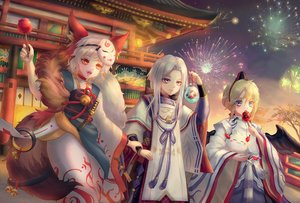 Rating: Safe Score: 24 Tags: animal animal_ears apple bell blonde_hair blue_eyes candy daitengu fireworks fish food fruit hat japanese_clothes kerokeroyeah knife male mask onmyouji red_eyes short_hair tagme_(character) tail tree weapon white_hair wings User: BattlequeenYume