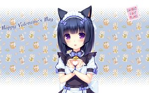Rating: Safe Score: 74 Tags: animal_ears black_hair blush bow catgirl flat_chest headdress heart maid minazuki_shigure nekopara purple_eyes sayori short_hair uniform valentine waitress wristwear User: RyuZU