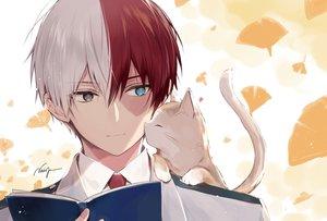 Rating: Safe Score: 50 Tags: all_male animal bicolored_eyes boku_no_hero_academia book cat close leaves male necomi scar school_uniform short_hair signed tie todoroki_shouto waifu2x User: otaku_emmy