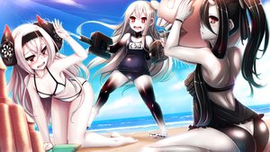 Rating: Safe Score: 44 Tags: anthropomorphism ass beach bikini black_hair blush breasts cleavage fuuki gray_hair headband horns kantai_collection long_hair ponytail red_eyes school_swimsuit sky swimsuit tagme_(character) water white_hair User: luckyluna