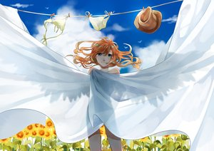 Rating: Safe Score: 35 Tags: blue_eyes flowers long_hair nude orange_hair original see_through sky soto_(artist) summer sunflower wings User: gnarf1975