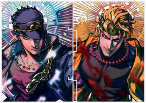 Rating: Safe Score: 34 Tags: all_male awa_suna blonde_hair dio_brando green_eyes hat jojo_no_kimyou_na_bouken kuujou_joutarou male orange_eyes short_hair signed User: RyuZU