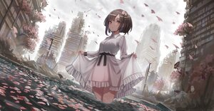 Rating: Safe Score: 3 Tags: building cherry_blossoms city clouds dress flowers original ruins short_hair sky water yu_ni_t User: BattlequeenYume