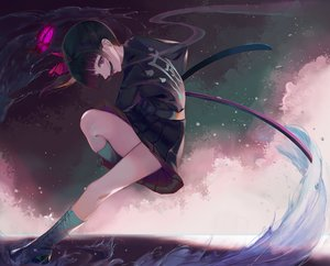Rating: Safe Score: 45 Tags: boots butterfly katana kimetsu_no_yaiba nekobell skirt sword tsuyuri_kanao weapon User: FormX