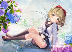 Rating: Safe Score: 109 Tags: brown_eyes brown_hair flowers idolmaster idolmaster_cinderella_girls kneehighs paintmusume ponytail school_uniform short_hair signed skirt umbrella yorita_yoshino User: BattlequeenYume