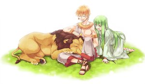 Rating: Safe Score: 55 Tags: animal barefoot enkidu fate/stay_night fate/strange_fake fate/zero gilgamesh grass green_eyes green_hair lion orange_hair tsu User: w7382001