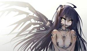 Rating: Questionable Score: 271 Tags: black_hair breasts erect_nipples gag long_hair mechagirl original undeedking wings yellow_eyes User: Flandre93